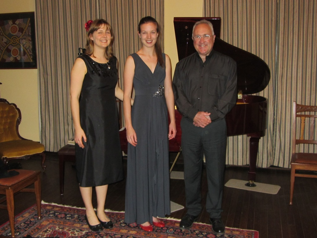 Post concert - from left, Maree Kilpatrick, Elizabeth Lawrence and Martin Crook