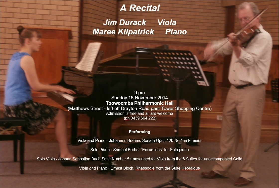 Recital with violist Jim Durack, Sunday 16 November 2014
